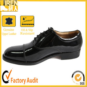 Black Genuine Cow Leather Boot Army Footwear Military Office Shoes pictures & photos