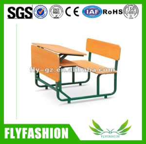 Classroom Furniture Wood Student Double Desk with Chair pictures & photos