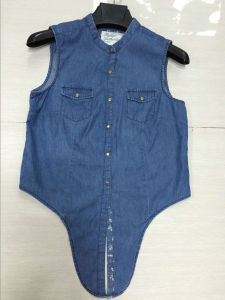 Women Denim Casual Shirts Sleeveless Slim Fit Ladies Jean Shirts