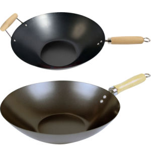 Amazon Vendor Nonstick Carbon Steel Flat Base Wok Wooden Handle pictures & photos