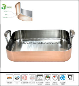 Cookware Bakeware Square BBQ Grill Roaster Pan Kitchenware 3 Ply Copper Clad pictures & photos