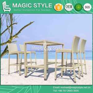 Rattan Bar Set Patio Wicker Bar Stool Garden Bar Stool Outdoor Bar Chair (Magic Style) pictures & photos