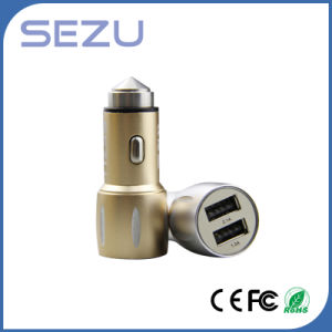 2 in 1 Dual USB Emergency Car Charger with Metal Safety Hammer for iPhone and Samsung pictures & photos