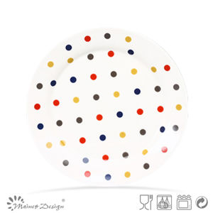 Ceramic Colorful Decal Dots Design Plate pictures & photos
