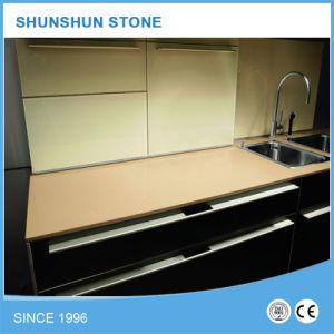 Beige Color Quartz Countertop for Kitchen Benchtop pictures & photos