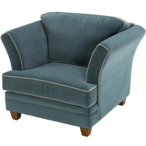 Elegant Blue Fabric Sofa Chair / Champagne Leather Sofa pictures & photos