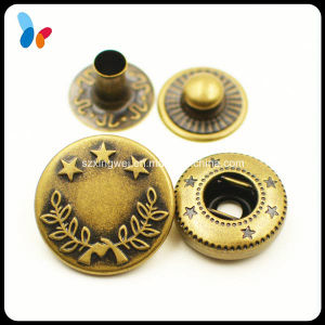 Custom Made Antique Metal Brass Spring Snap Button for Jeans pictures & photos