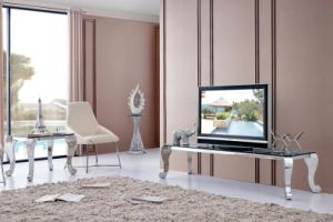 Hot Contemporary Stylish Glass Top Stainless Steel Frame TV Rack pictures & photos