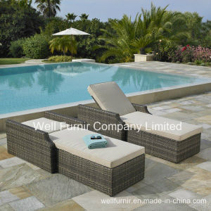 2-Pk Hampton Rattan Chaise Lounge / Wicker Sun Lounger pictures & photos