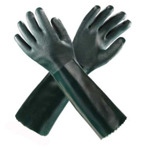 Green Long PVC Safety Gloves pictures & photos
