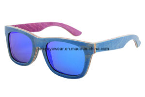 Blue Laminate Skate Wood Sunglasses (VE013-2)
