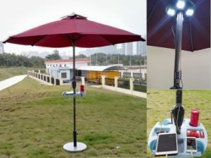 Sun Umbrella with 2-USB Solar Panels Charger for Mobilephone Christmas Gift Lh102-1