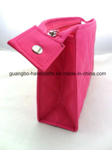 Custom Hot Pink Polyester Zipper Cosmetic Bag pictures & photos