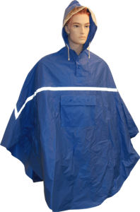 PVC/Polyester Rain Poncho with Reflective Tape pictures & photos