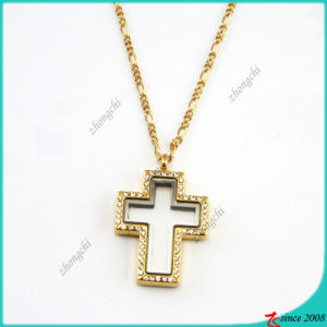 Crystal Gold Cross Floating Locket Pendant Necklace Jewelry (FL16040836) pictures & photos