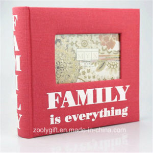 Printed Red Fabric Family Photo Album with Windows pictures & photos
