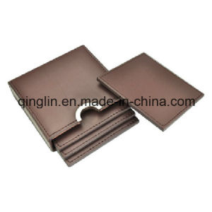 Custom Square Brown PU Leather Cup Mat (QL-BD-0004) pictures & photos