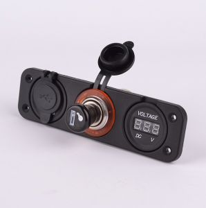 Car USB Charger Cigarette Lighter Socket Adapter and Voltmeter pictures & photos