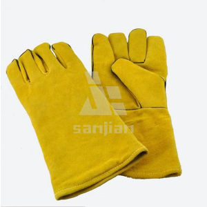 Full Plam CE Welding Safety Glove with Leather Grade a/Ab/Bc pictures & photos