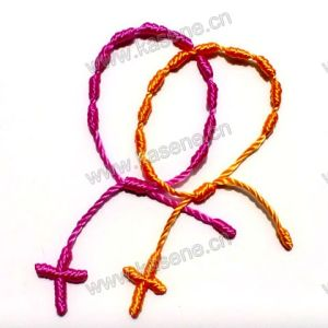 Rainbow Color Rope Bracelet/ Knot Rosary Bracelet/Sideways Cross Bracelet