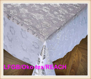 137cm Elegent PVC Silver Lace Tablecloth Roll Factory pictures & photos