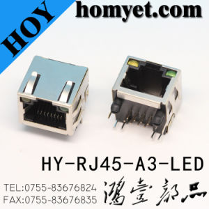 Professional Manufacturer Metal Case RJ45 RJ45 PCB Socket with LED (HY-RJ45-A3-LED) pictures & photos