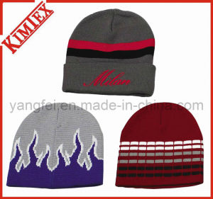 Customs Cheap Acrylic Jacquard Knitted Winter Reversible Beanie pictures & photos