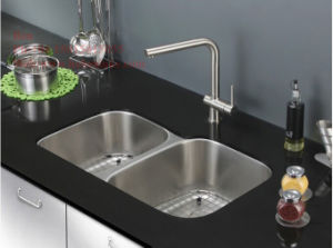 40/60 Stainless Steel Under Mount Double Bowl Kitchen Sink with Cupc Certification pictures & photos