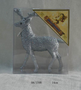 Silvery Glitter Christmas Deer Hanging Decoration