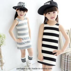High Quality Little Girls Dress Sleeveless Striped Vest Summer Wear pictures & photos