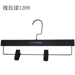 Manufature Trouser Brand Black Plastic Rubber Coating Custom Clips Hangers pictures & photos