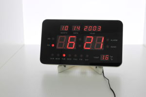 LED Digital Wall Clock with Shelf, 10 Inch Wall Clock with Alarm Music pictures & photos