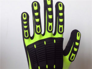 Fully Coated Sandy Nitrile Hppe Gloves with TPR Sewing pictures & photos