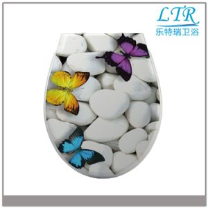 Close Front Duroplast Toilet Seat with Butterfly Pattern pictures & photos