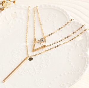 Temperament Multilayer V Shape Gold Necklace Designs in 10 Grams Bar Pendant Statement Necklace pictures & photos