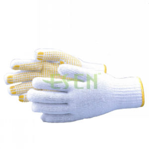 PVC Dotted White Hand Cotton Gloves/ Working Gloves/ Safety Gloves pictures & photos