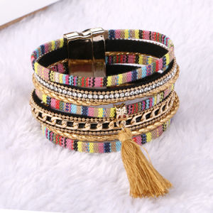 Fashion Magnetic Clasp Tassel Bangle Embroidery Bohemian Leather Bracelet Jewelry pictures & photos
