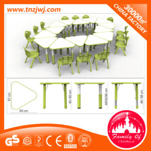 Combined Trapezoidal Table Plastic Children Classroom Furniture Set pictures & photos