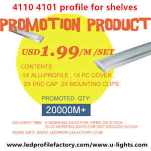 Promotion 4101, 4110 LED Profile $1.99/M with Aluminum Profile and PC Cover for Shelves Strip Light pictures & photos