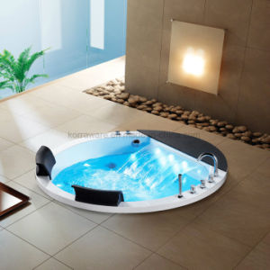 Round Embedded Acrylic Bathtub for 2 Persons with LED Light (K1716) pictures & photos