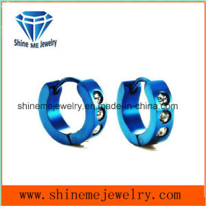 Blue Fashion Stainless Steel Glass Stone Earring pictures & photos