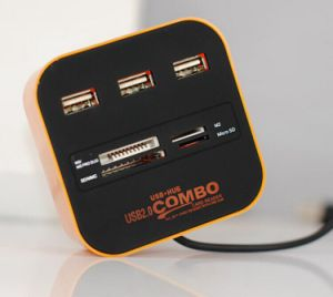 LED Lighted Logo USB Combo 3 Ports USB Hub Combo Card Reader (OM-P910) pictures & photos