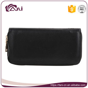 Black Women′s RFID Wallet, PU Leather Clutch Wallet, Zip Wallet pictures & photos
