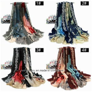 Chinese Ink Printed Shawl Thick Satin Silk Fashion Lady Scarf pictures & photos