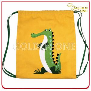 Promotional Crocodile Pattern Polyester Nylon Drawstring Bag pictures & photos
