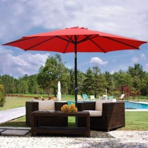 9FT Red Sunshade Umbrella with Metal Pole 9′