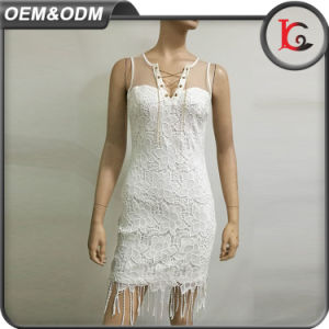 Hot Sell Lace Women Summer Dress Fashion New Arrival Tassels Dress with Metal Jewelry pictures & photos