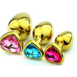Golden Heart Shaped Stainless Steel Crystal Jewelry Anal Butt Plug Sex Toys Large Size 40mm X 90mm GS0316 pictures & photos
