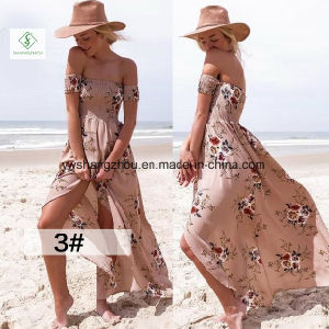 Fashion Women off Shoulder Beach Maxi Chiffon Dress with Floral Print pictures & photos