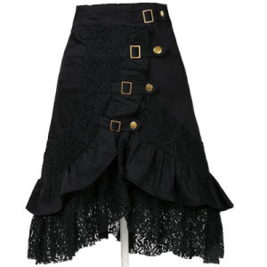 Gothic Steampunk Gypsy Clothing Black Lace Skirt Wholesale Manufacturer pictures & photos